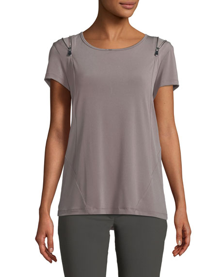 Anatomie Zoey Short-Sleeve Zip-Shoulder Tee