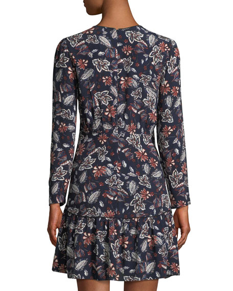 Lon-Sleeve V-Neck Floral-Print Dress