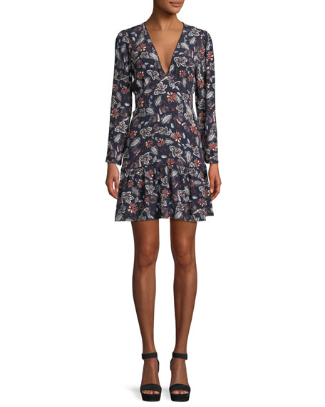 Ella Moss Lon-Sleeve V-Neck Floral-Print Dress