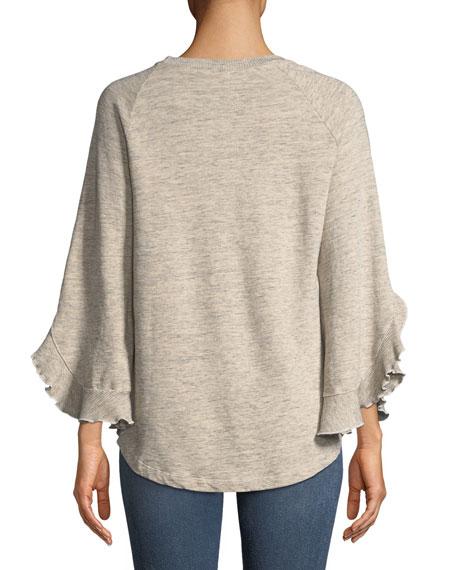 Ruffle-Sleeve Crewneck Sweatshirt