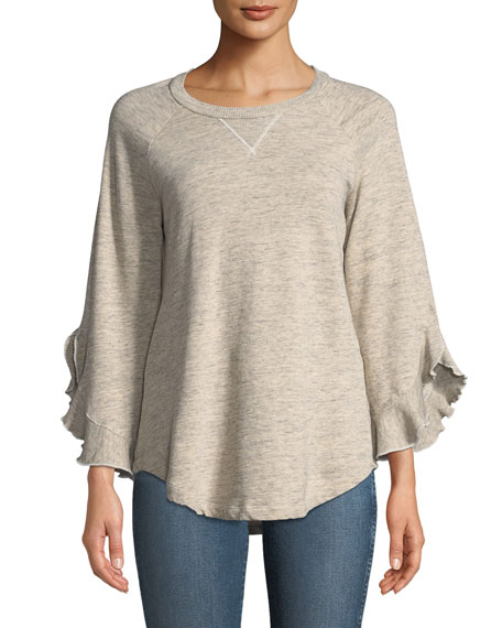Ella Moss Ruffle-Sleeve Crewneck Sweatshirt