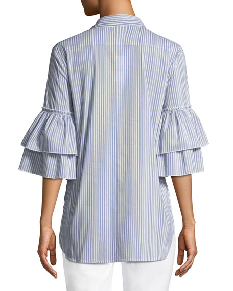 Ruffle-Sleeve Striped Tie-Front Cotton-Blend Blouse