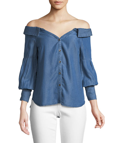 Ella Moss Off-the-Shoulder Chambray Top