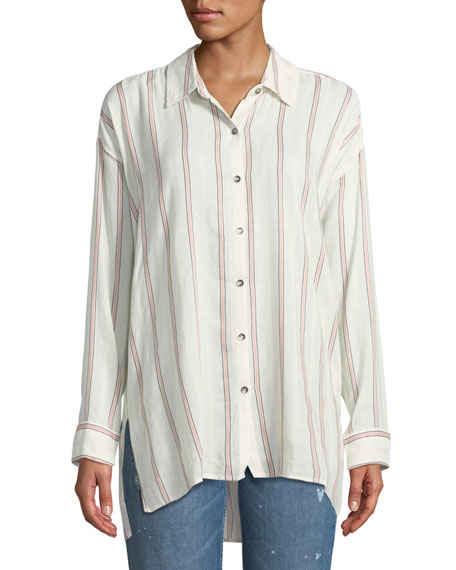 Button-Down Sailboat-Stripe Boyfriend Shirt