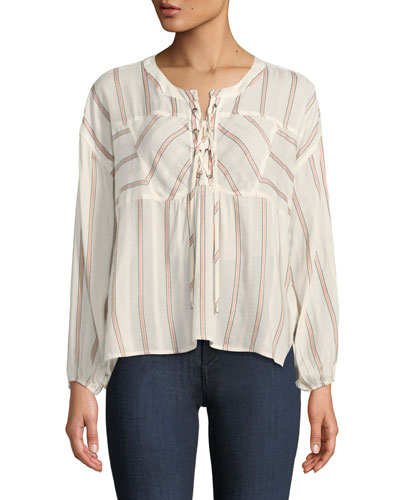 Lace-Up Sailboat Stripe Top
