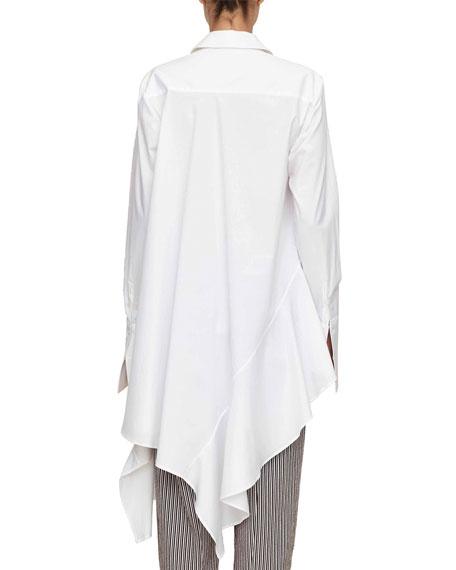 spicy long-sleeve asymmetric ruffled cotton shirt