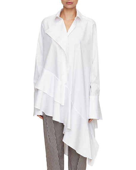 spicy long-sleeve asymmetric ruffled cotton shirt
