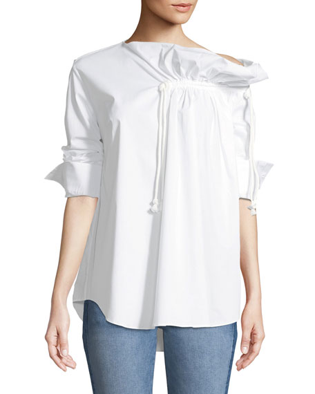 Gallery Ruched Long-Sleeve Poplin Shirt
