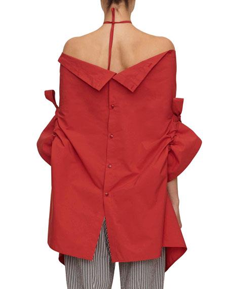 jasmin button-down asymmetric halter shirt