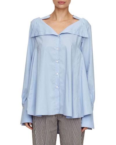 portrait button-down oversized cotton shirt