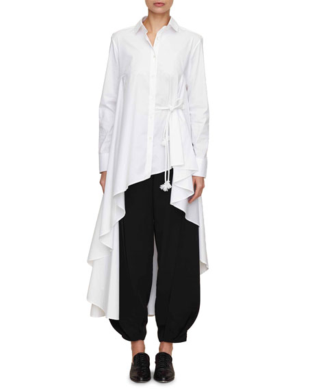 button-down long asymmetric super shirt