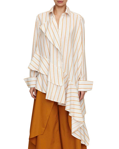 spicy long-sleeve asymmetric striped cotton shirt