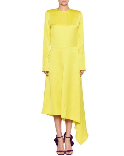 Long-Sleeve Split-Back Satin Dress