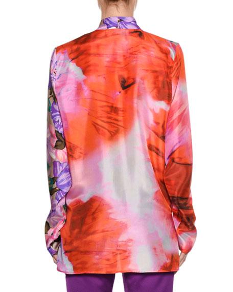 Long-Sleeve Silk Satin Mixed-Print Top