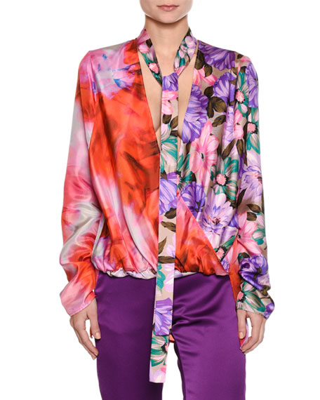 MSGM Long-Sleeve Silk Satin Mixed-Print Top