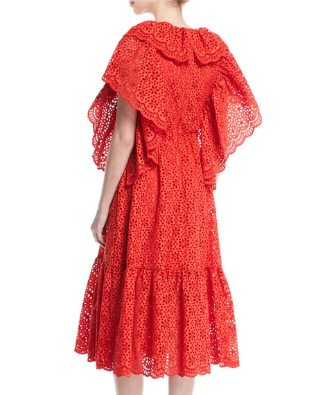 Short-Sleeve Ruffle Eyelet Midi Dress