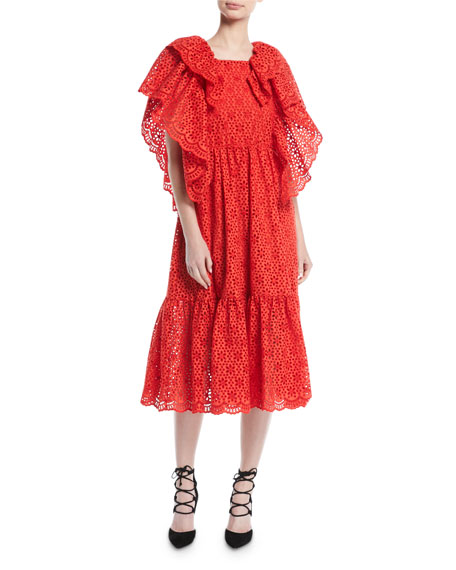 MSGM Short-Sleeve Ruffle Eyelet Midi Dress