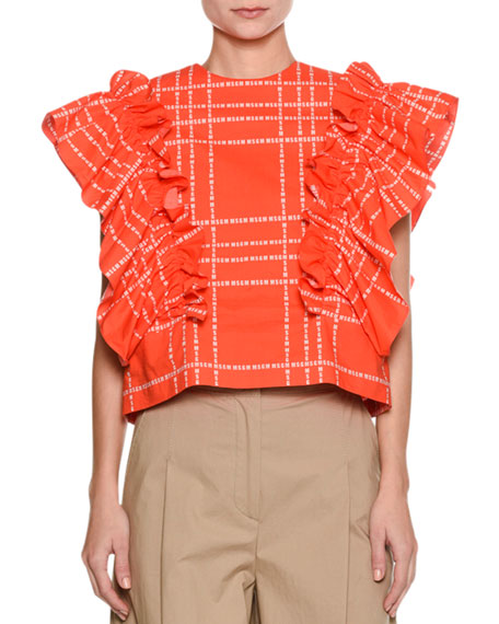 MSGM Short-Sleeve Logo-Print Ruffle Cotton Top and Matching