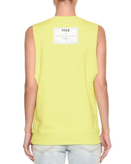 Sleeveless Crewneck Cotton Sweatshirt