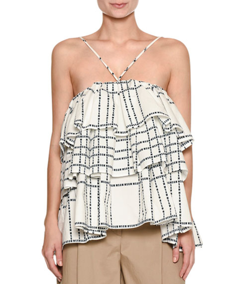 MSGM Layered Ruffle Logo-Print Cotton Cami Top and