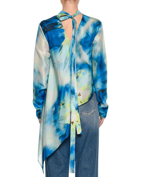 Long-Sleeve Abstract-Print Silk Blouse w/ Asymmetric Hem