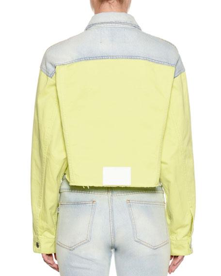 Two-Tone Button-Down Cropped Denim Jacket
