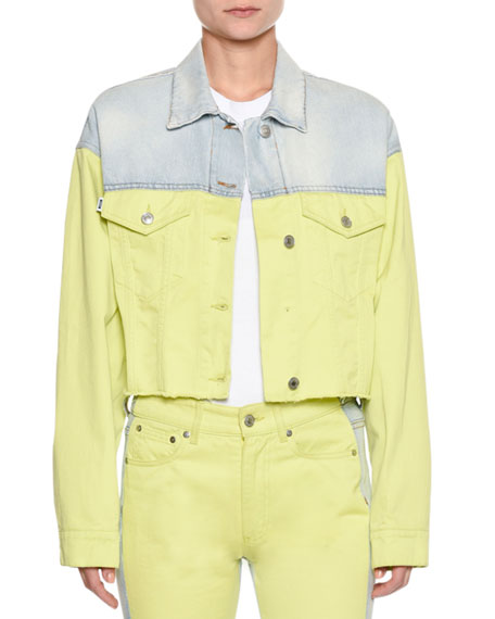 MSGM Two-Tone Button-Down Cropped Denim Jacket and Matching