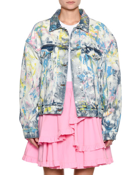 Tie-Dye Paint-Splatter Oversized Denim Jacket