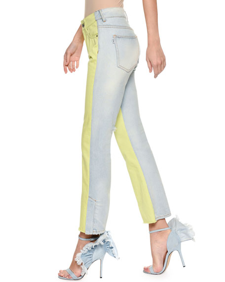 Two-Tone Flared-Leg Cropped Jeans