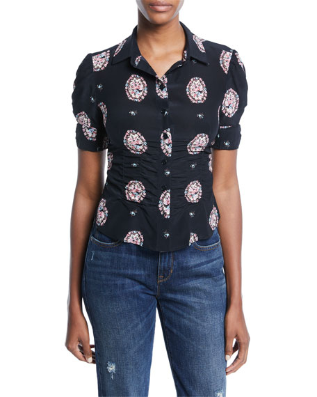 Nanette Lepore Locket Short-Sleeve Silk Top