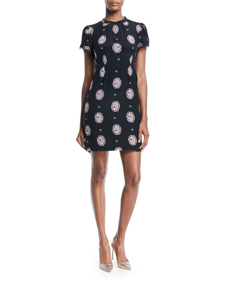 Nanette Lepore Shakespeare Short-Sleeve Silk Shift Dress