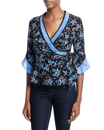 Ophelia V-Neck Half-Sleeve Silk Top