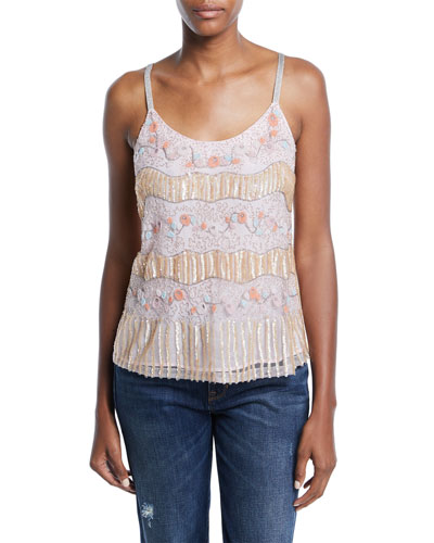 Juliet Scoop-Neck Beaded Cami Top