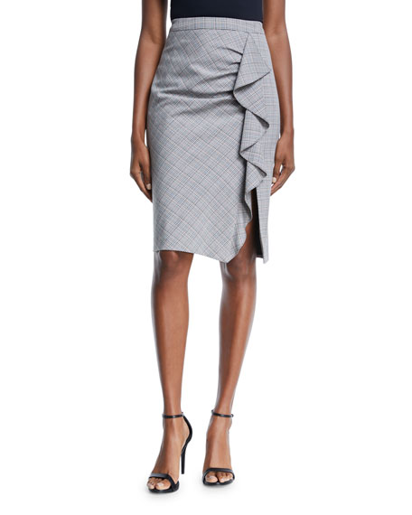 Nanette Lepore  PLAYFUL PLAID RUFFLE PENCIL SKIRT