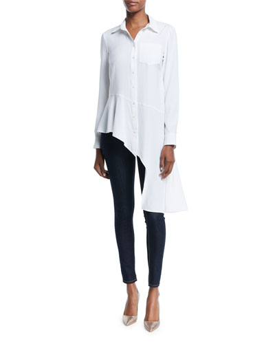 Dramatic Asymmetric Long-Sleeve Shirt