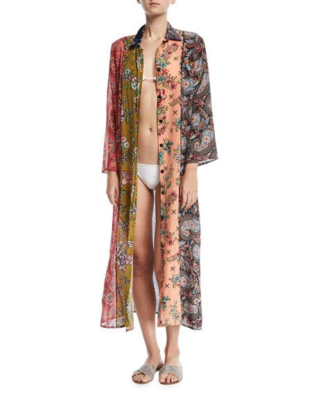 Agustina Button-Front Long Silk Beach Shirt Coverup