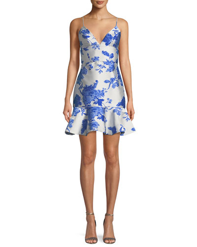 Floral-Print Jacquard Ruffle Cocktail Mini Dress