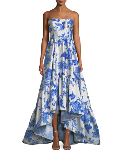 Floral-Print Jacquard Georgiana Strapless Gown