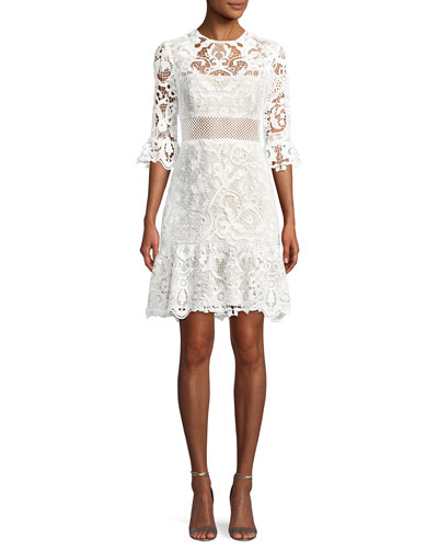 Lucia Ruffled Lace Mini Dress