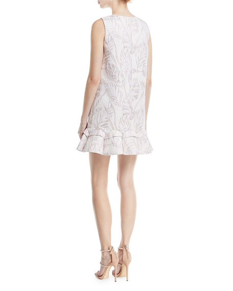 Sleeveless Jacquard Mini Sack Cocktail Dress