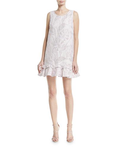 Sleeveless Jacquard Mini Sack Cocktail Dress