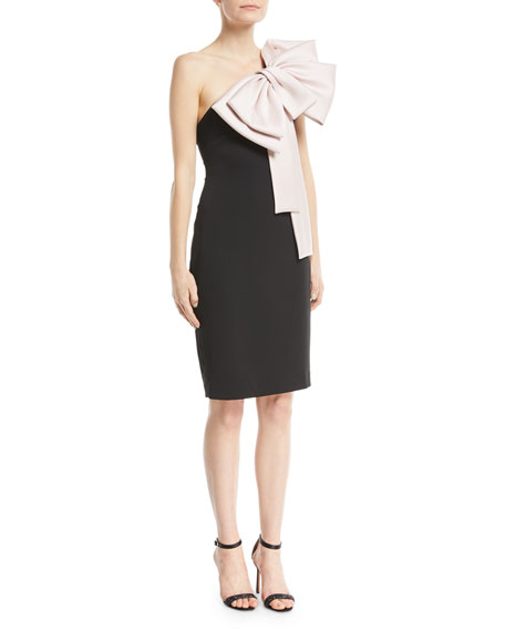 Badgley Mischka Collection Two-Tone Bow-Shoulder Cocktail Dress