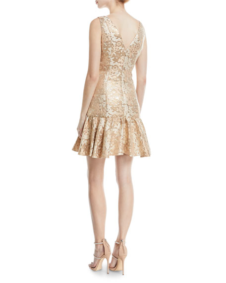 Metallic Jacquard Cocktail Dress w/ Flounce Hem