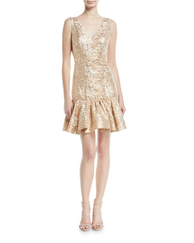 Metallic Jacquard Cocktail Dress w/ Flounce Hem