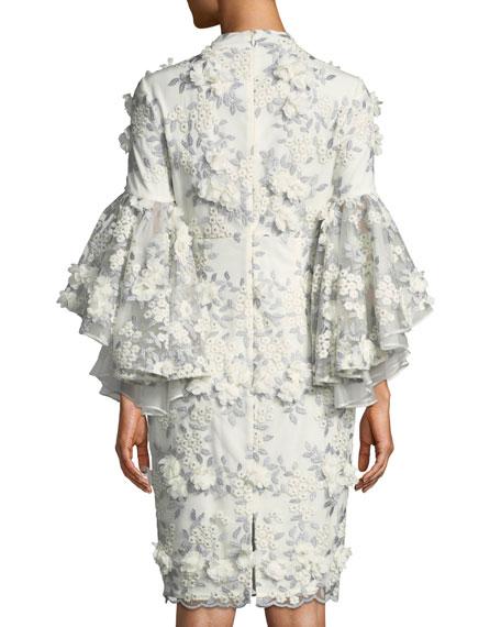 3D Floral Appliqué Bell-Sleeve Cocktail Dress