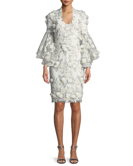 Badgley Mischka Collection 3D Floral Appliqué Bell-Sleeve