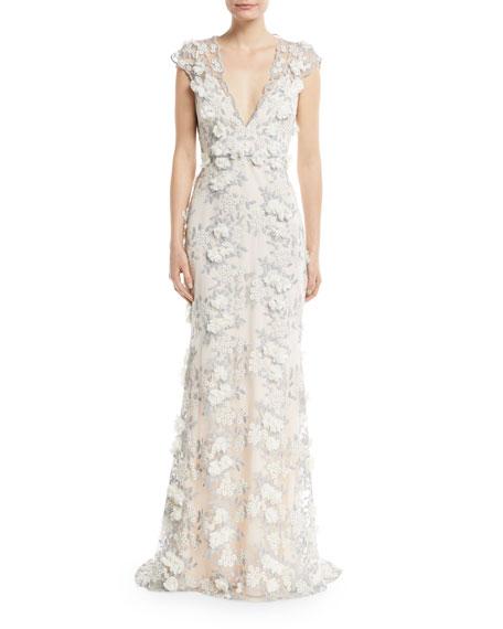Badgley Mischka Floral Applique Gown Black Multi V neck vcv 78062