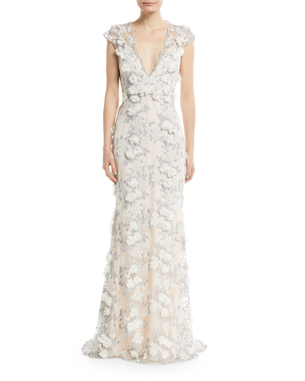 Fl Lace V Neck Gown