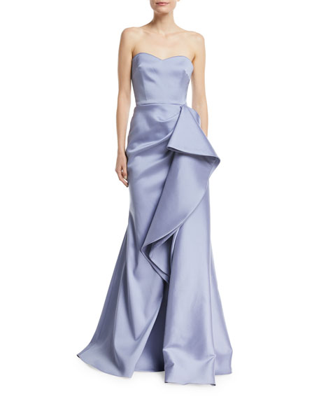Badgley Mischka Collection Strapless Mikado Bustier Gown w/