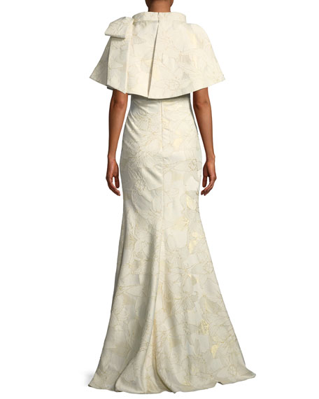 Jacquard Popover Bow Trumpet Gown